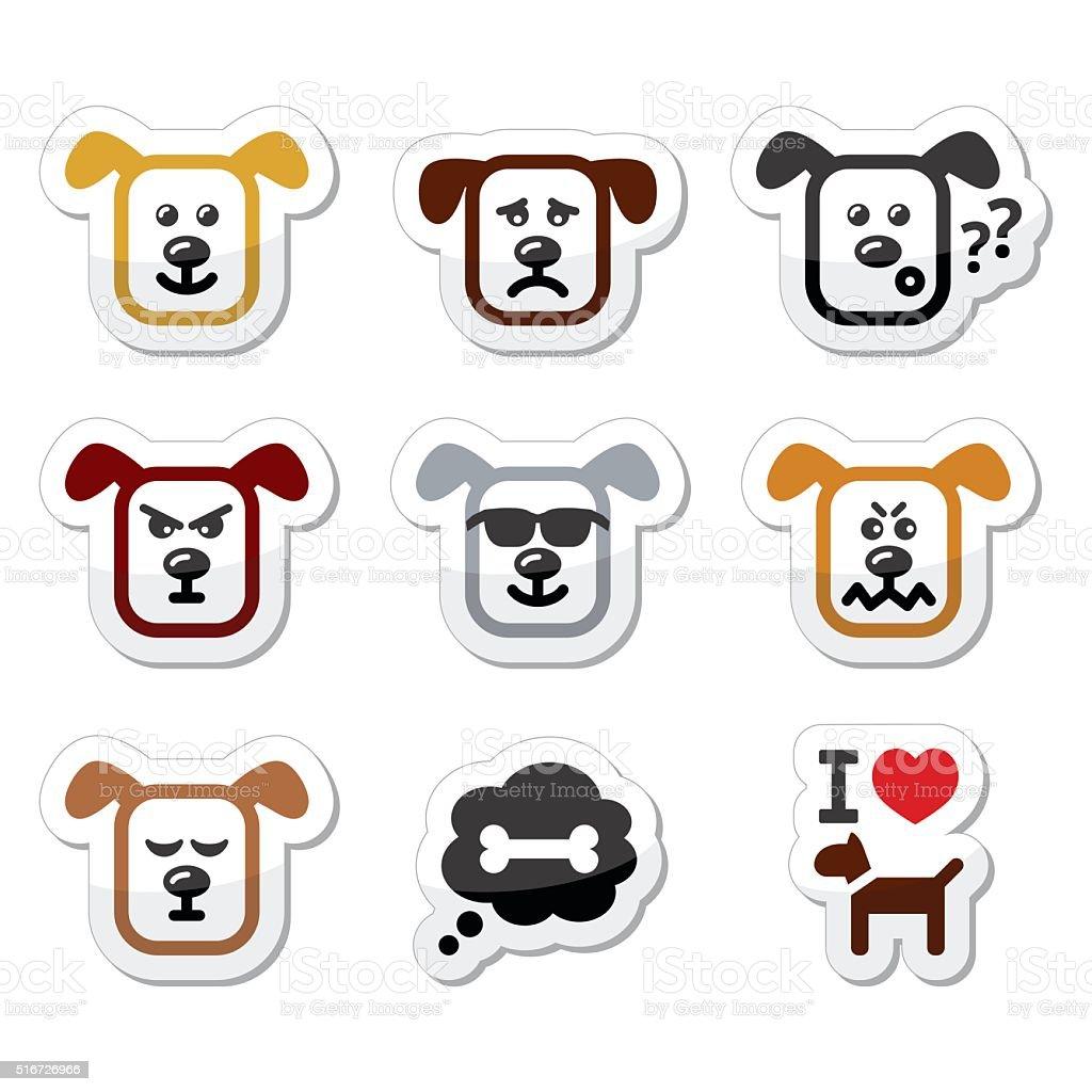 Dog icons set - happy, sad, angry isolated on white vector art illustration