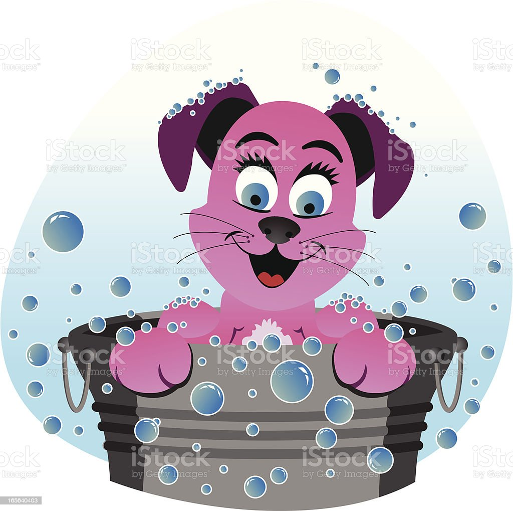 Dog In a Bathtub royalty-free stock vector art