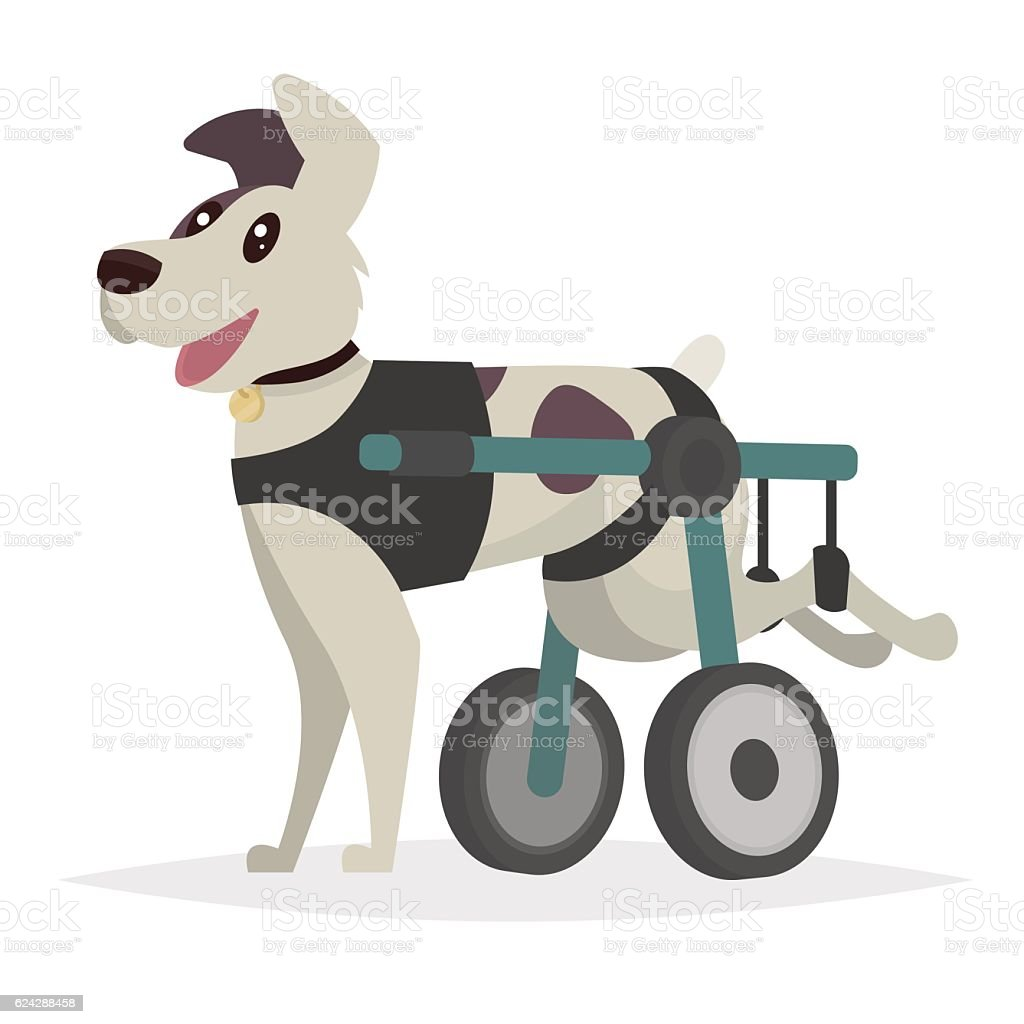 Dog in a wheelchair for the hind paws. vector art illustration