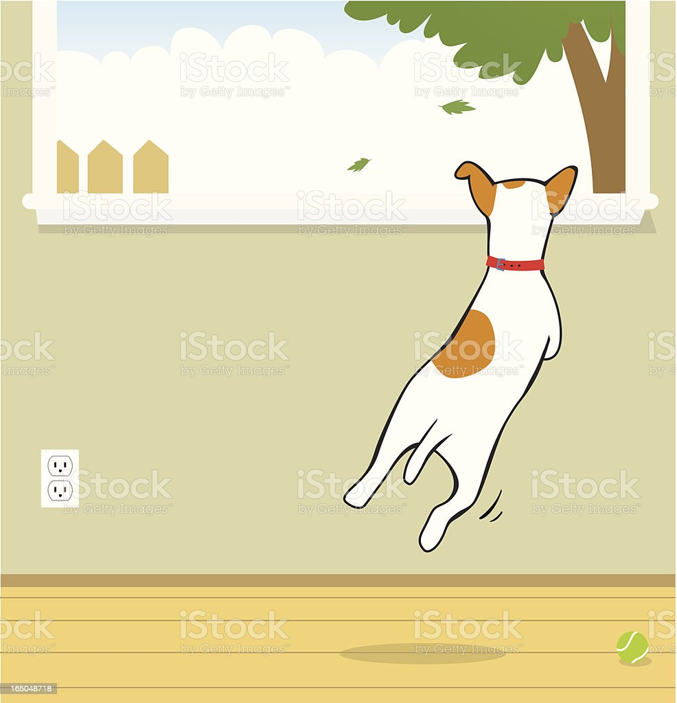 Dog jumping to look outside the window royalty-free stock vector art