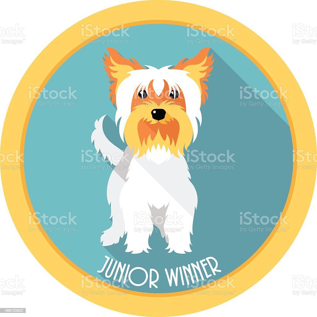dog Junior winner medal icon flat design vector art illustration