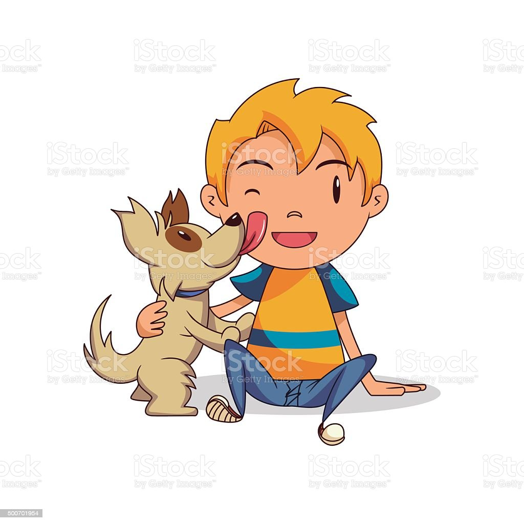Dog licking child vector art illustration