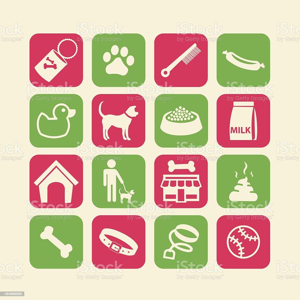 Dog life Icons set Red Green vector art illustration