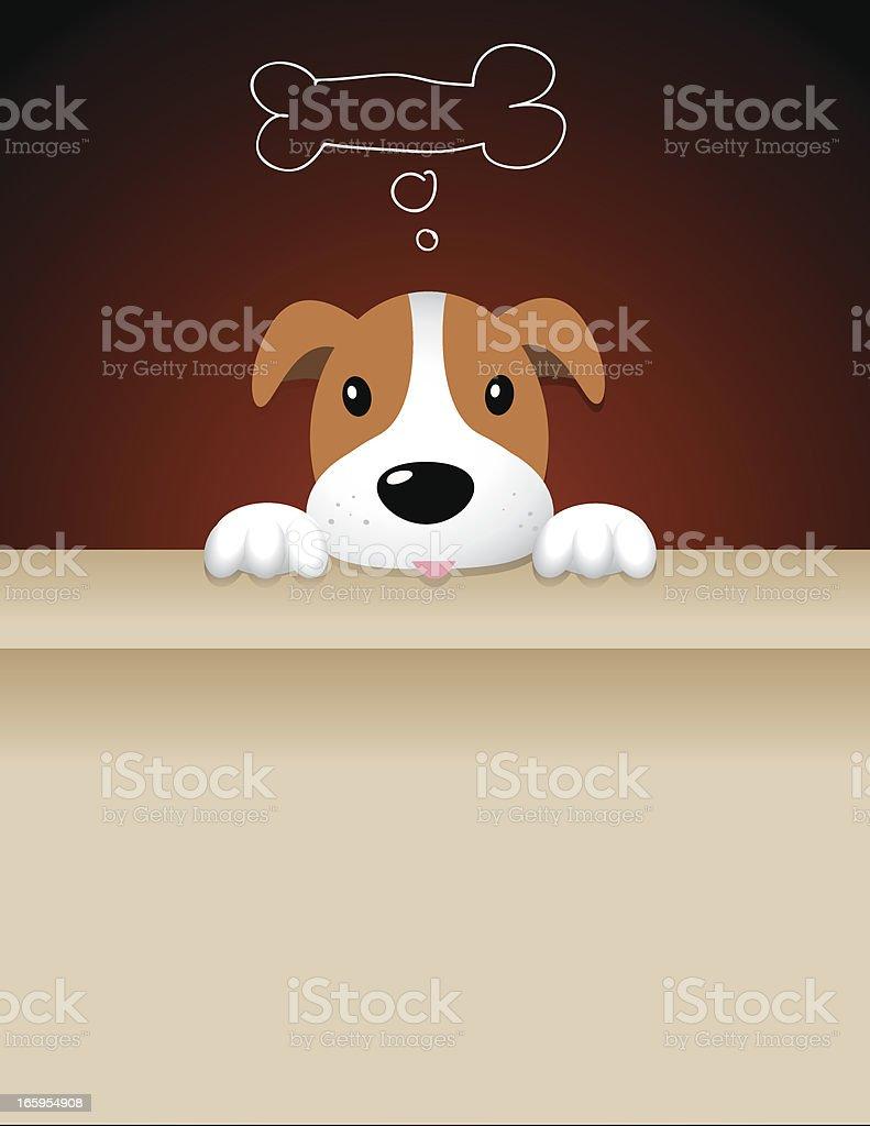 dog on an open box vector art illustration