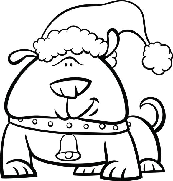 dog on christmas coloring book vector art illustration
