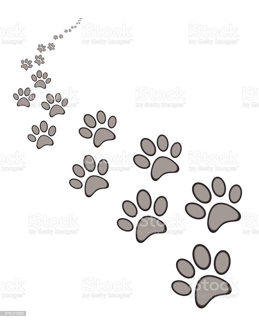 dog or cat paw print vector art illustration