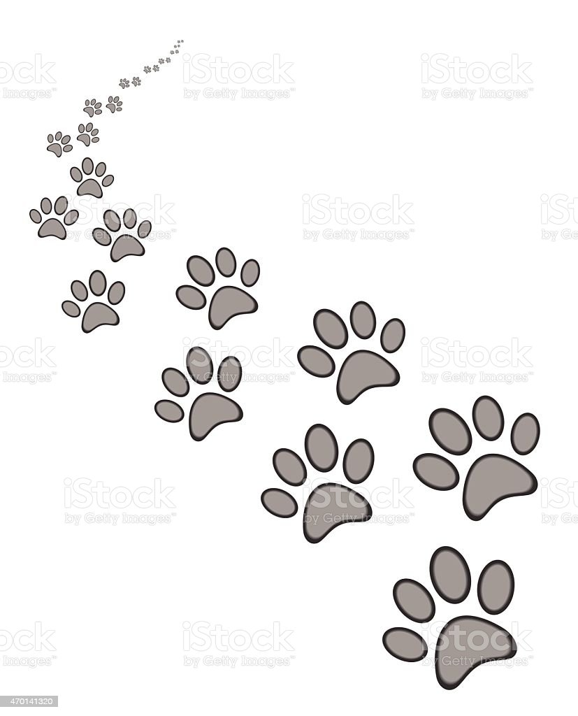 dog or cat paw print vector art illustration