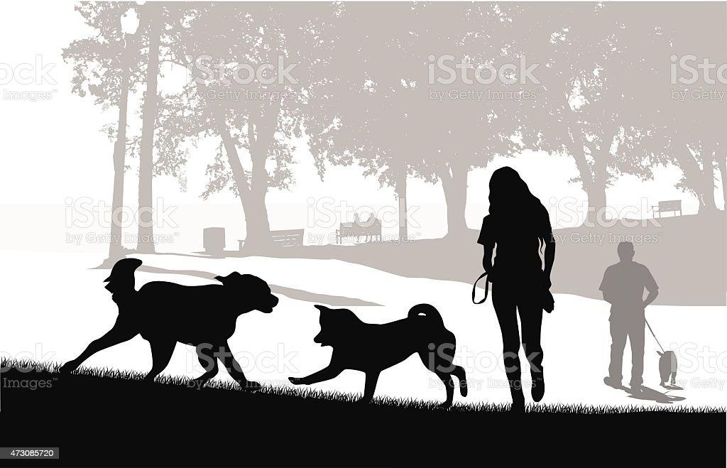 Dog Park Friends vector art illustration