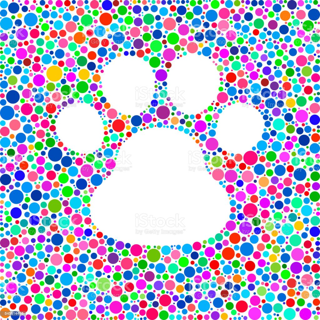 Dog Paw Icon on Color Circle Background Pattern vector art illustration
