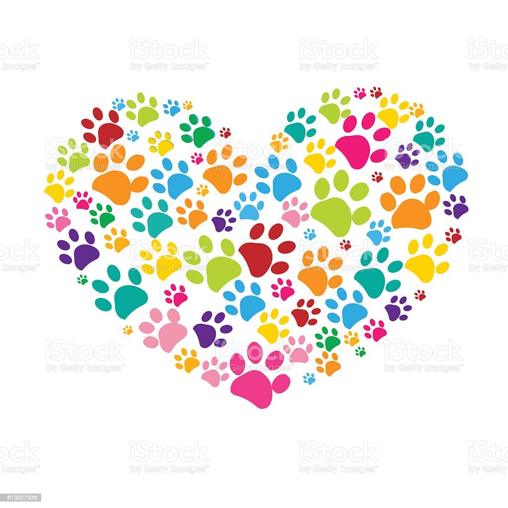 Dog paw print made of colorful heart illustration vector art illustration