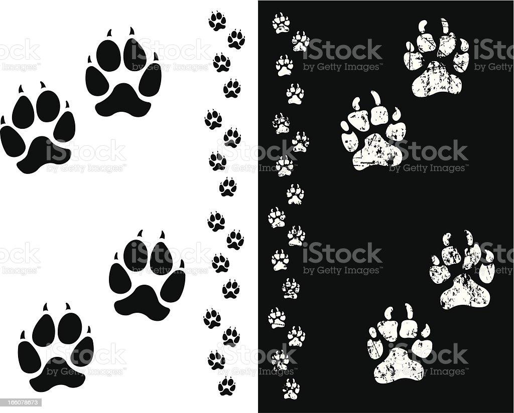 Dog Paw Prints or Animal Tracks vector art illustration