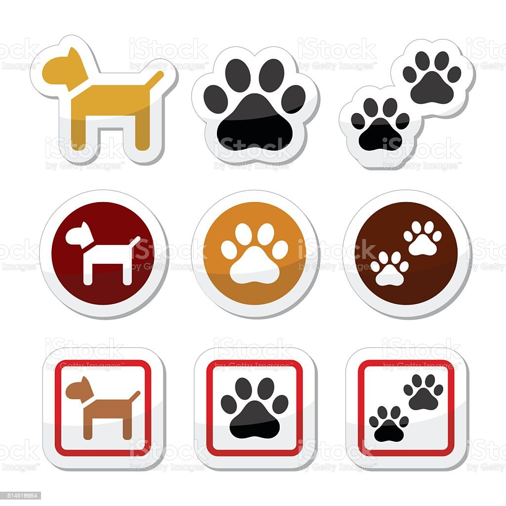 Dog, paw prints vector icons set vector art illustration