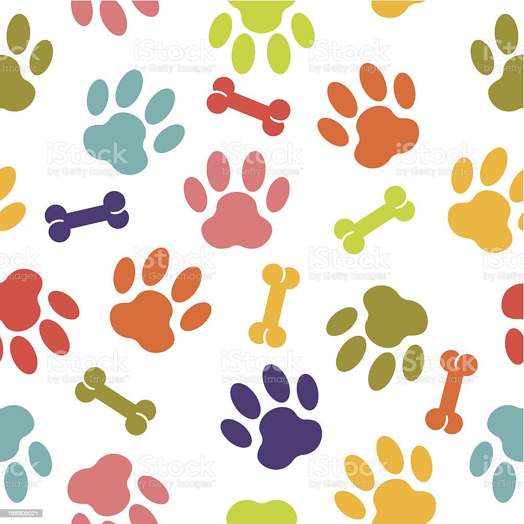 Dog paw seamless pattern vector art illustration