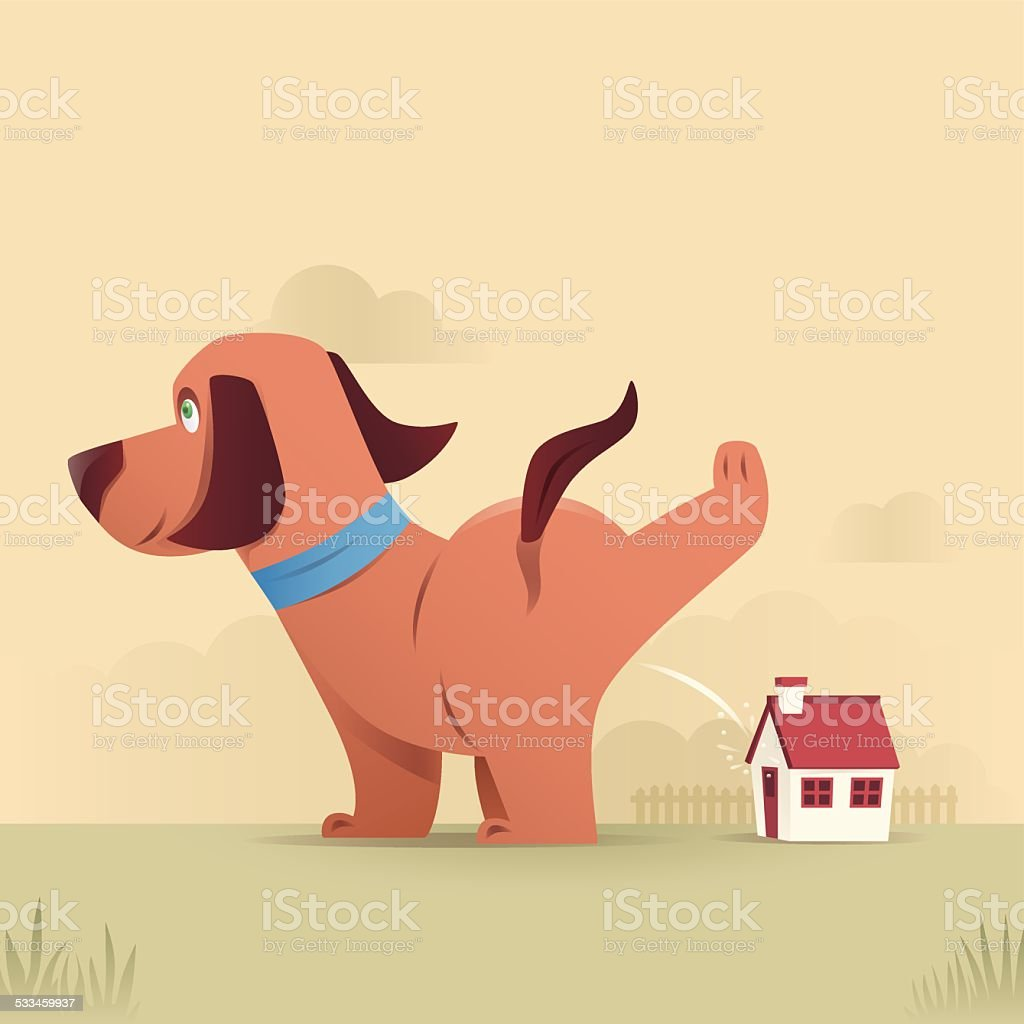 dog peeing vector art illustration