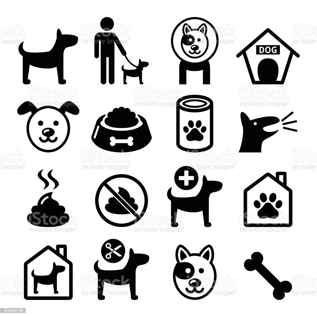 Dog, pet icons set - vet, dog's food, dog hotel vector art illustration