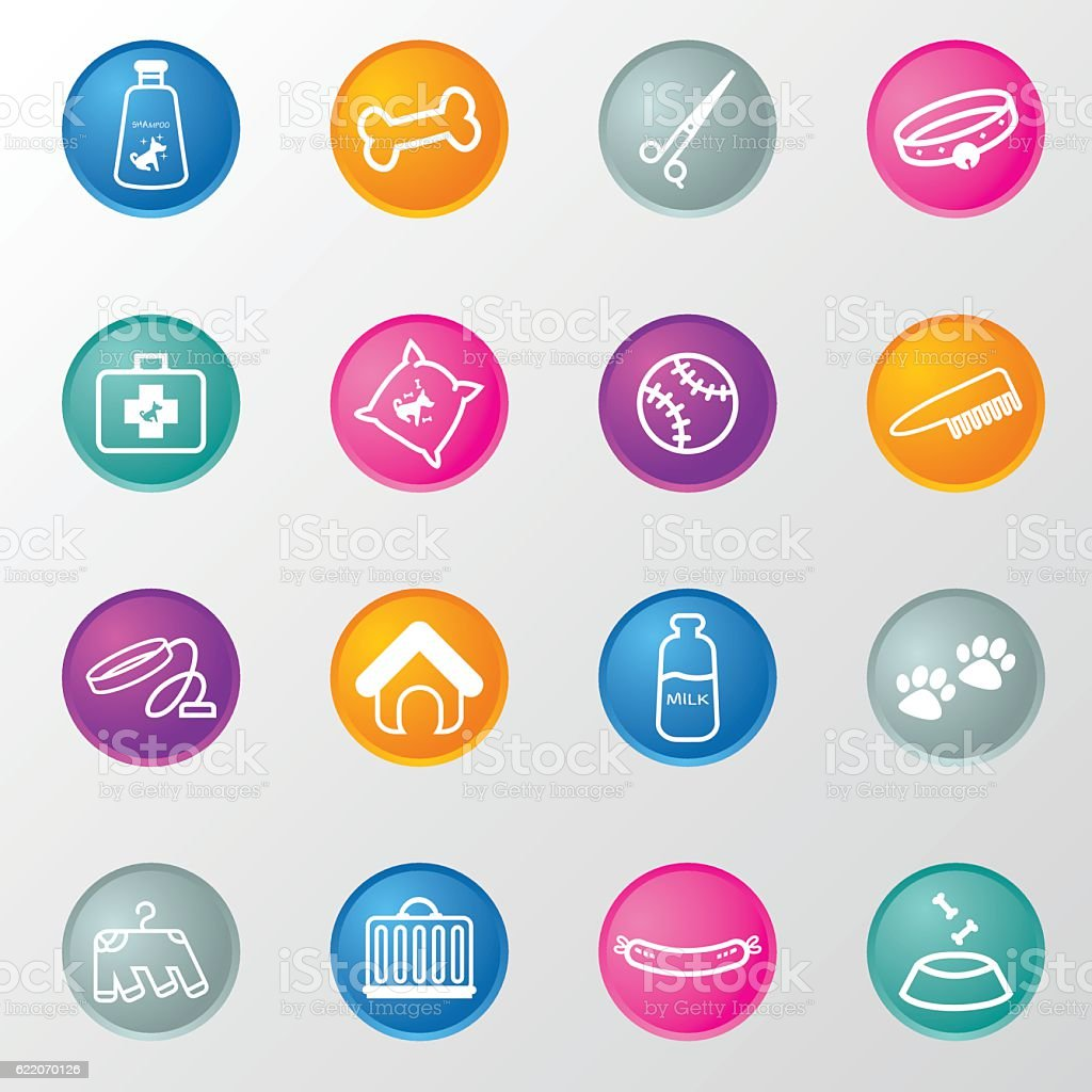 Dog Pet shop Circle Colours Icons vector art illustration