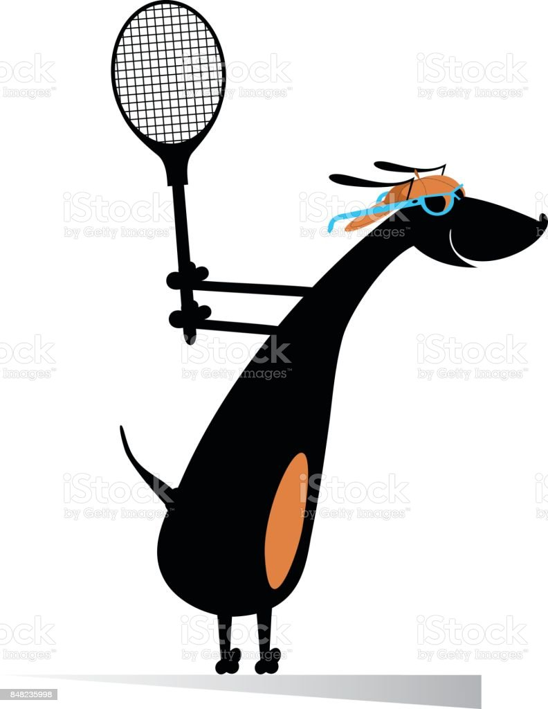 Dog playing tennis isolated vector art illustration