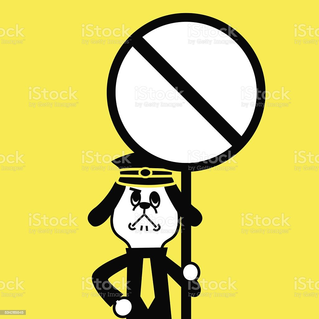Dog Police showing a prohibition sign vector art illustration