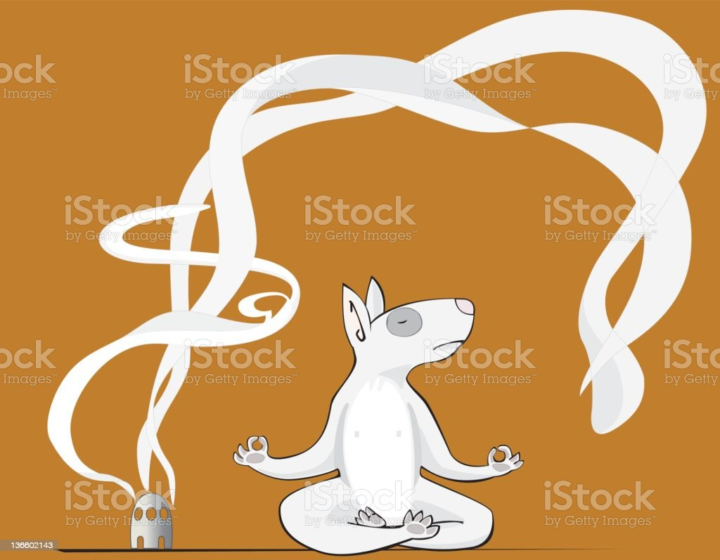 Dog practising Yoga royalty-free stock vector art