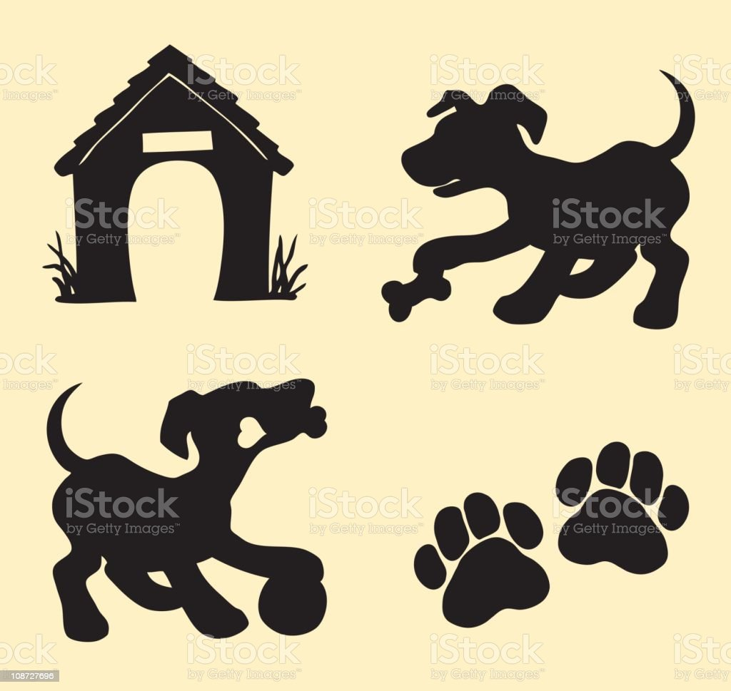 Dog, puppy playing royalty-free stock vector art