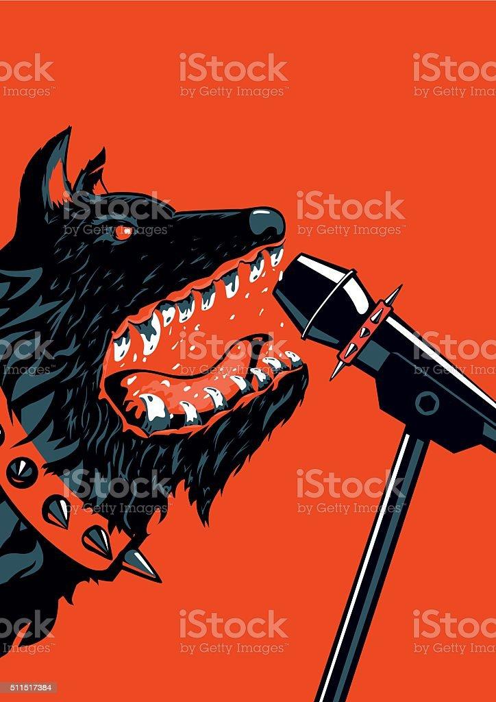 Dog Rock vector art illustration