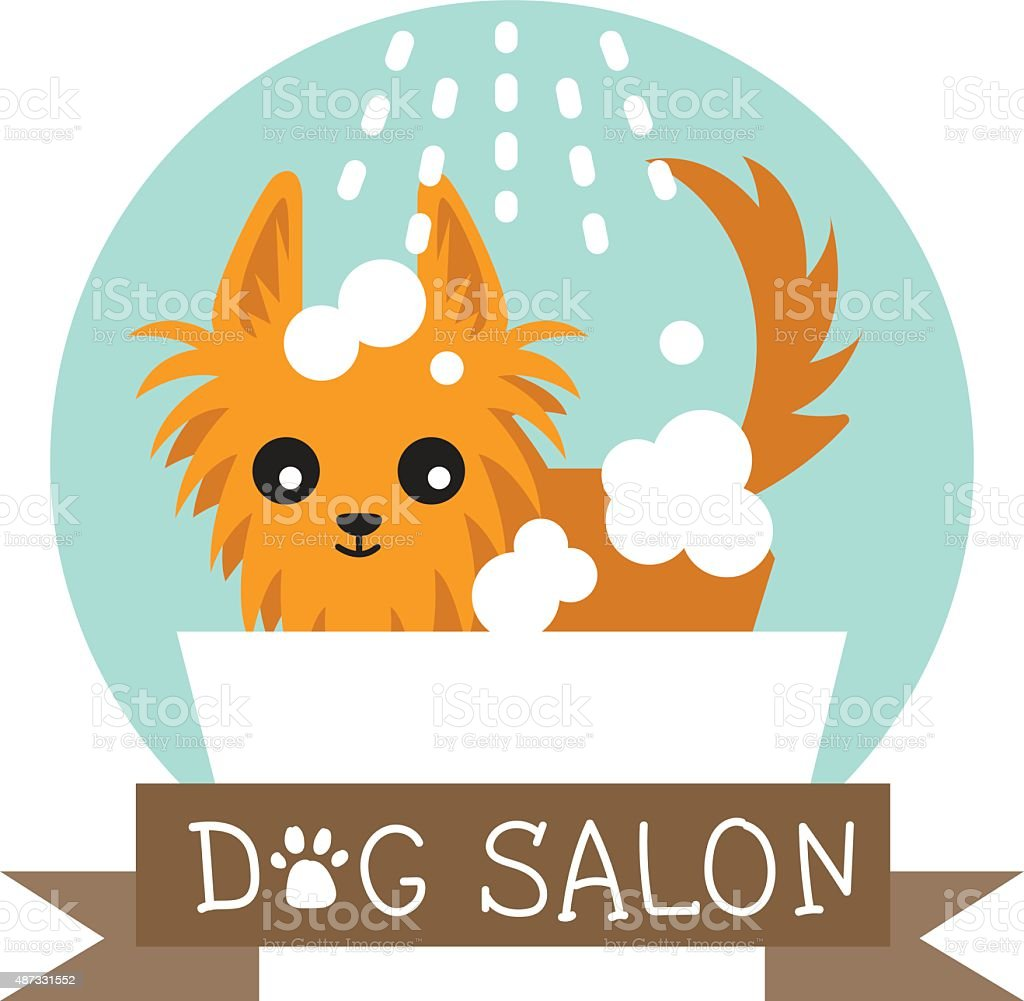 dog salon logo vector art illustration