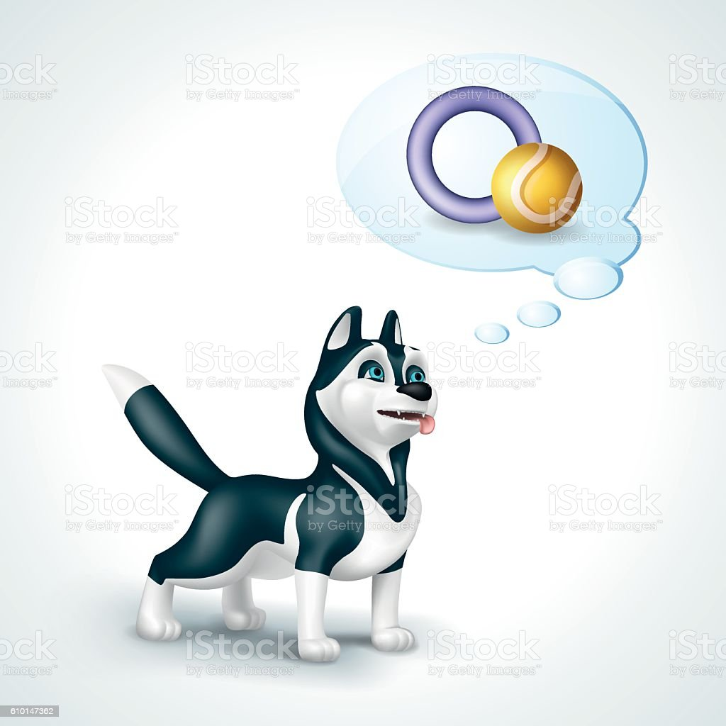 Dog Siberian Husky with thought bubble thinking about toys vector art illustration