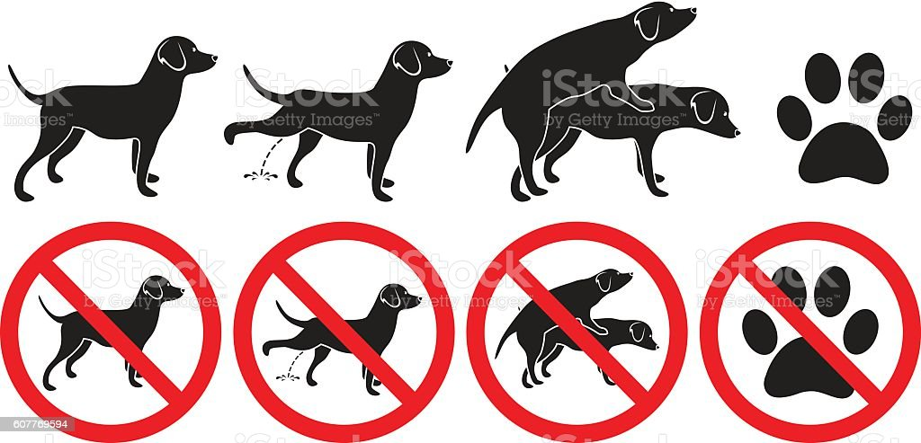 Dog sign vector illustration peeing grooming making love and pawprint vector art illustration
