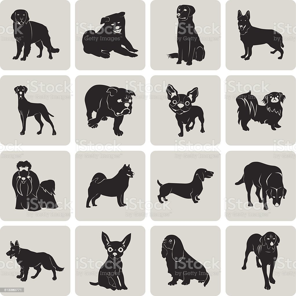 Dog Silhouette Black Icon Symbol grouped for easy editing set2. vector art illustration