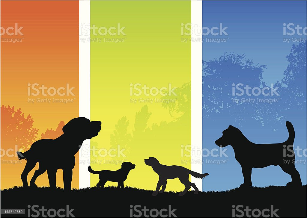 Dog silhouettes in the country royalty-free stock vector art