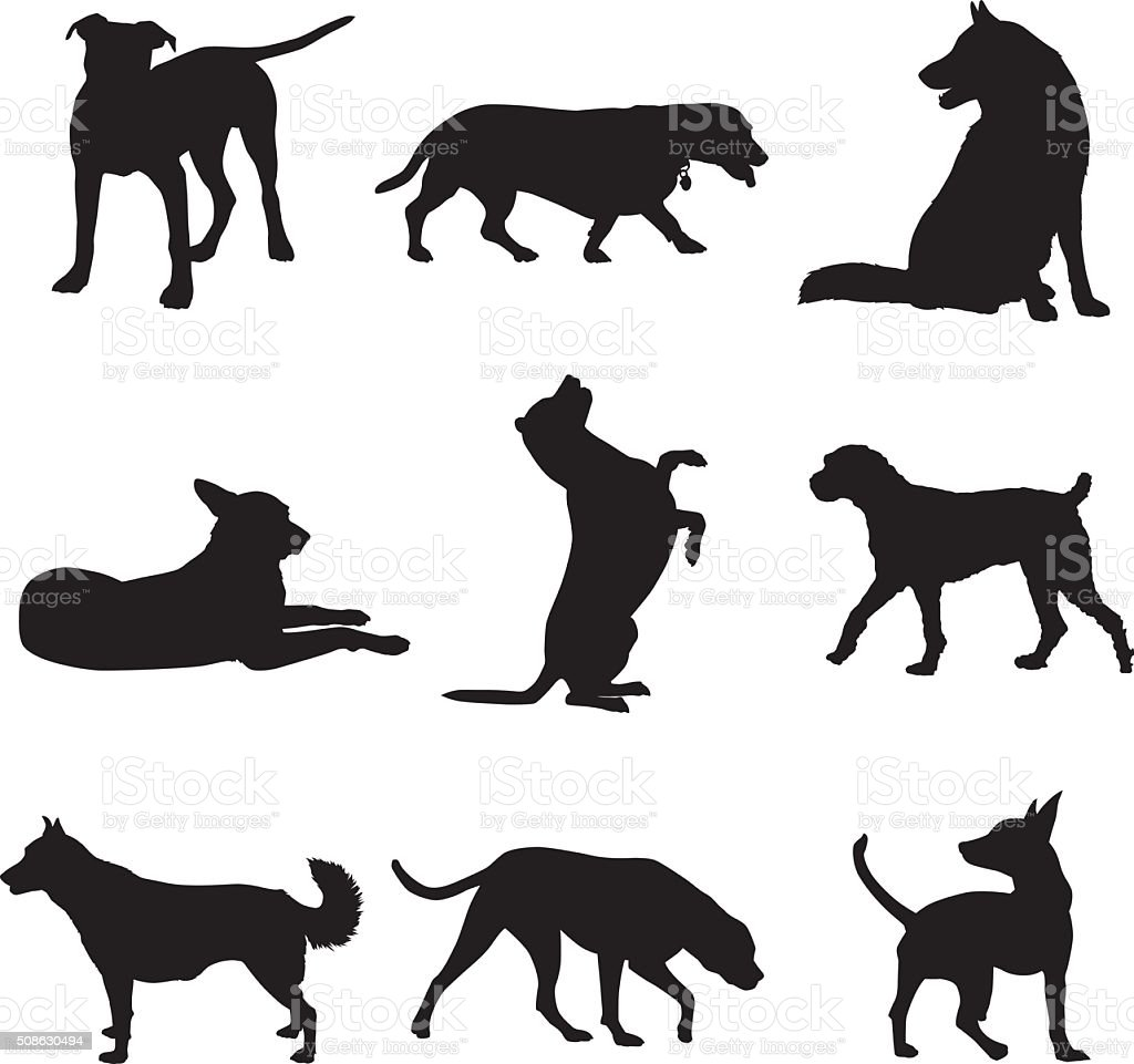 Dog Silhouettes Set vector art illustration