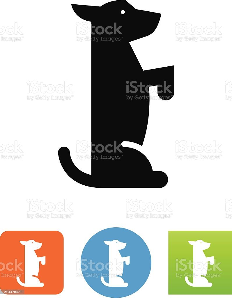 Dog Sitting Up Icon vector art illustration