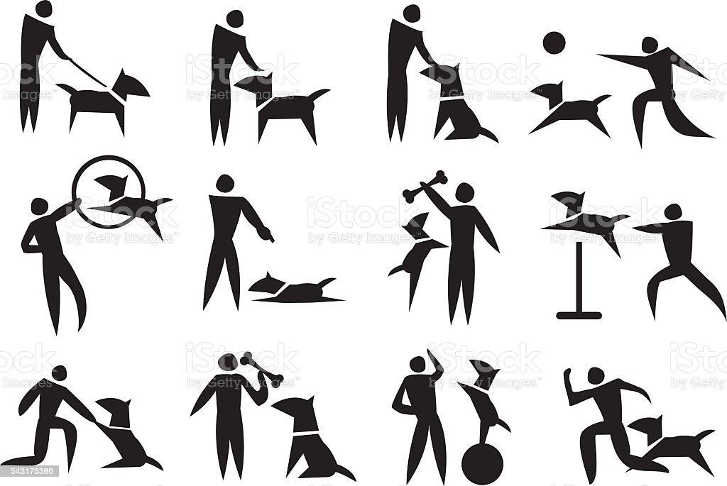 Dog Training Vector Icon Set vector art illustration