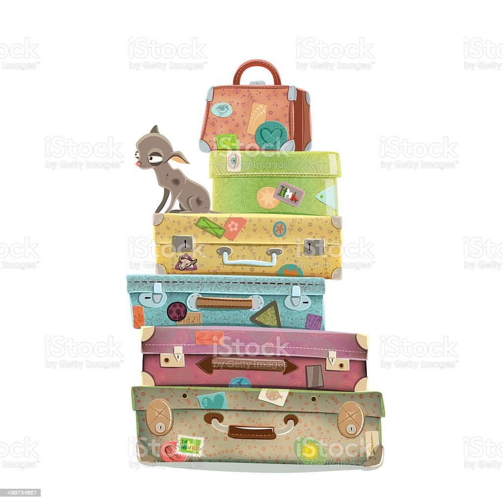 Dog travel vector art illustration