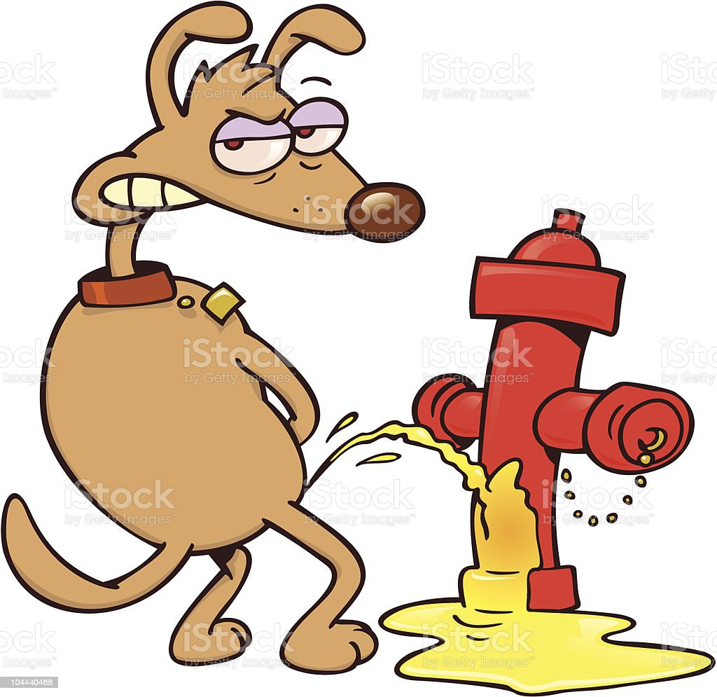 Dog urinating on a fire hydrant vector art illustration