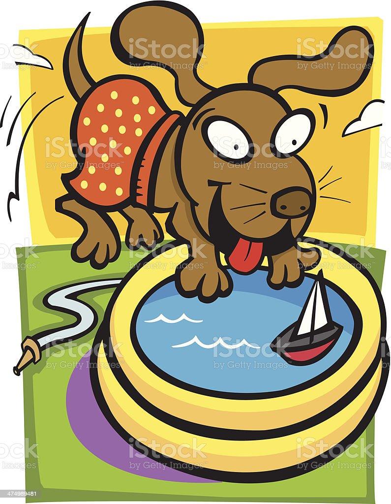 Dog Wading Pool C vector art illustration