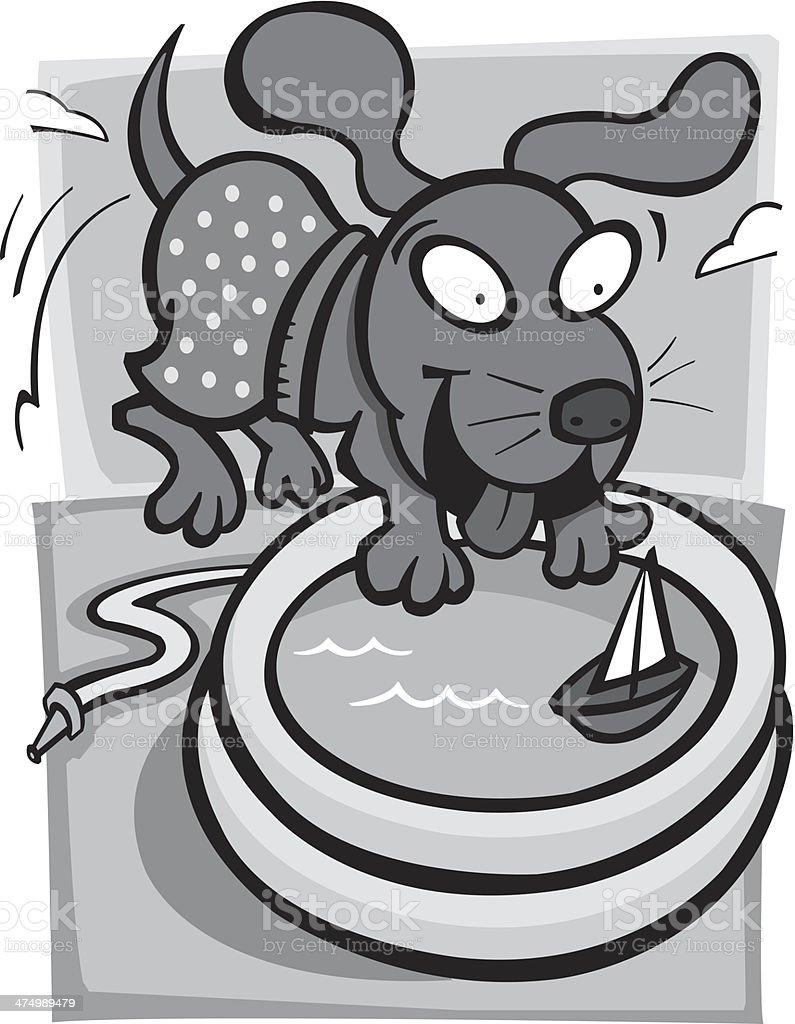 Dog Wading Pool vector art illustration