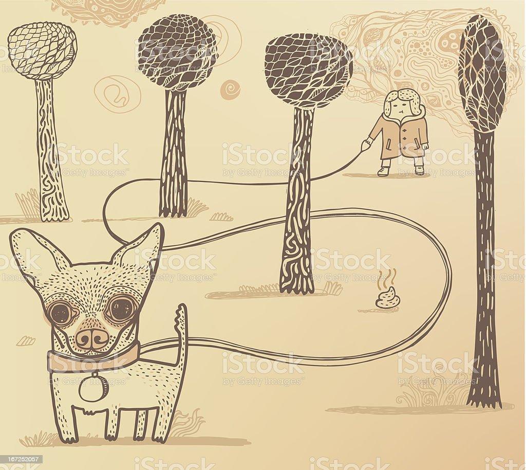 Dog walker in the park vector art illustration