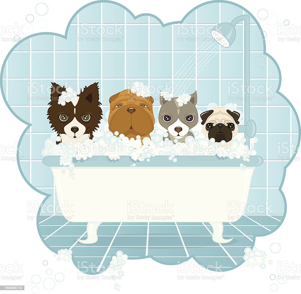 Dog Wash vector art illustration