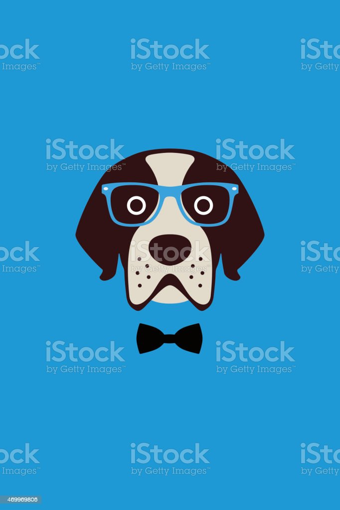 dog wear glasses and bowknot like a Gentlemen vector art illustration