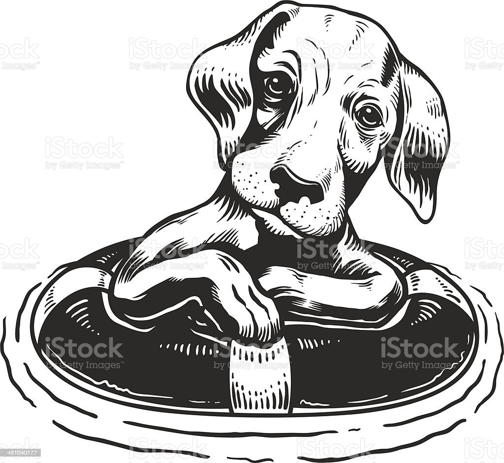 Dog with a Life Buoy vector art illustration