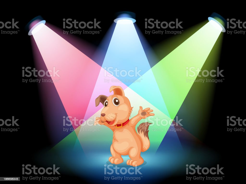 dog with a red collar at the center of  stage royalty-free stock vector art