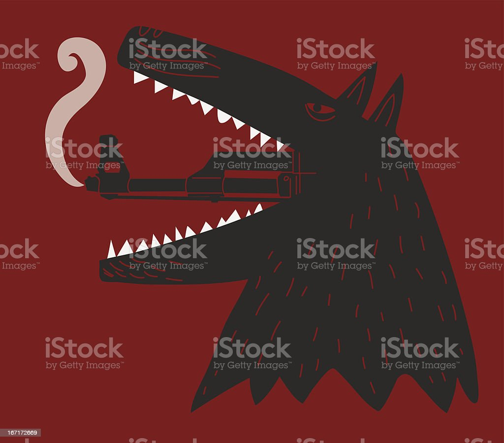 dog with ak 47 cannon  leaving its mouth royalty-free stock vector art