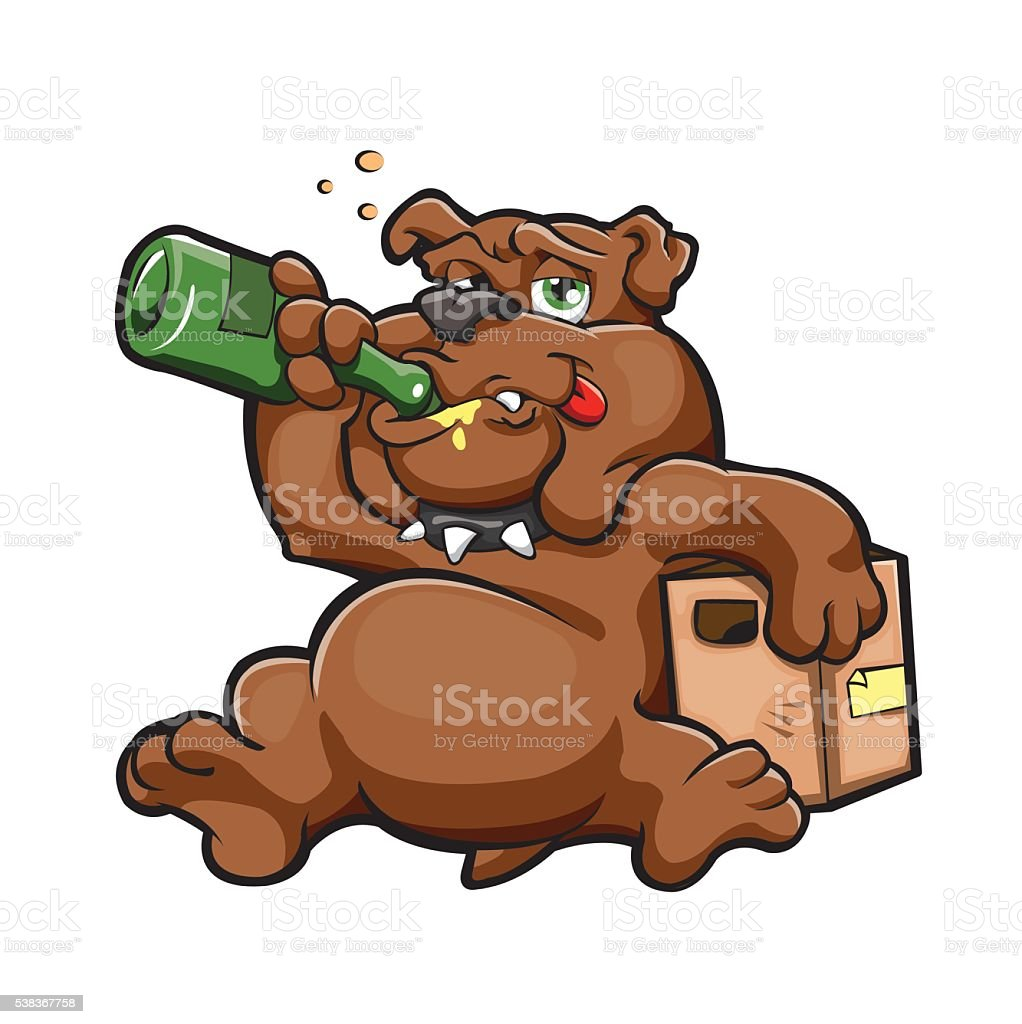 dog with alcohol bottle vector art illustration