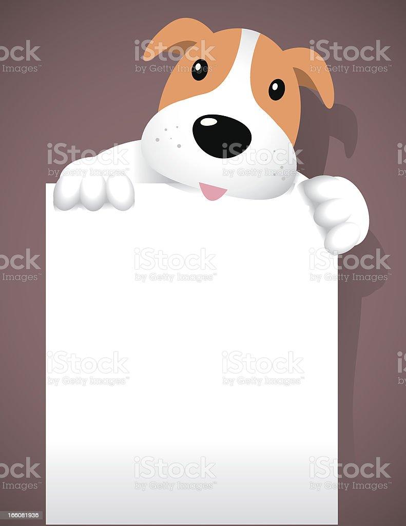 Dog with banner signage vector art illustration