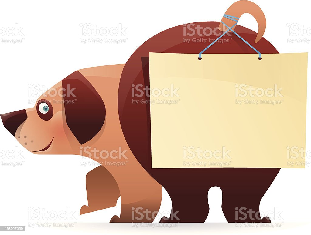 dog with blanked sign vector art illustration