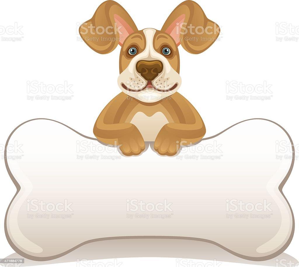 Dog with bone vector art illustration