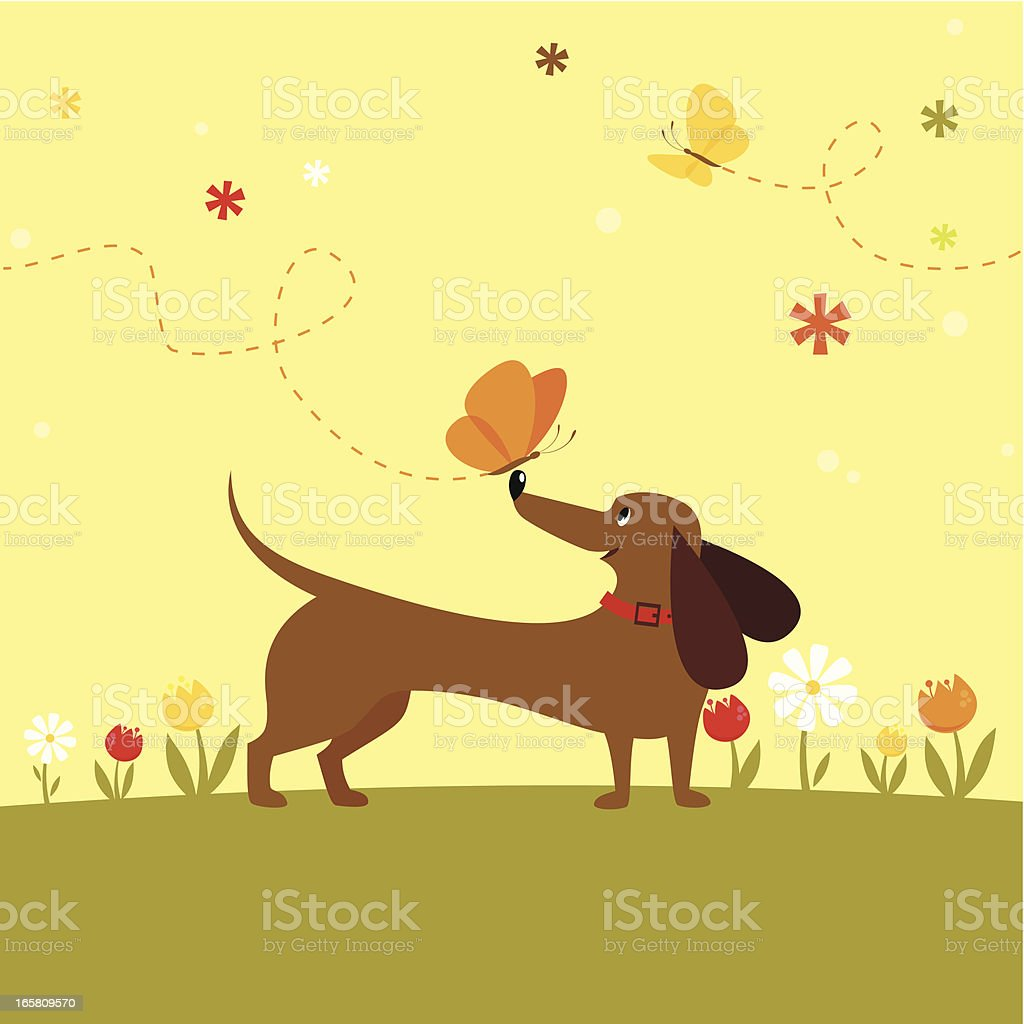 Dog with butterfly royalty-free stock vector art