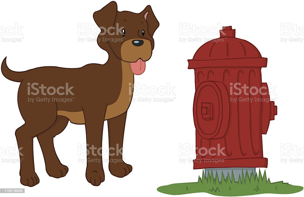Dog with Fire Hydrant royalty-free stock vector art