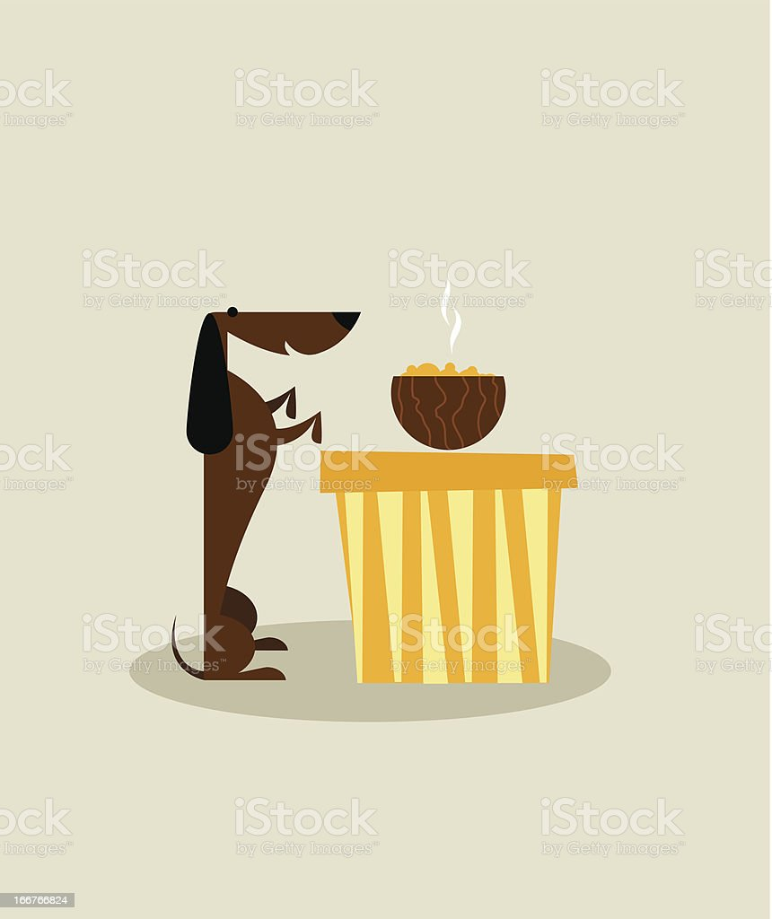 Dog with food royalty-free stock vector art